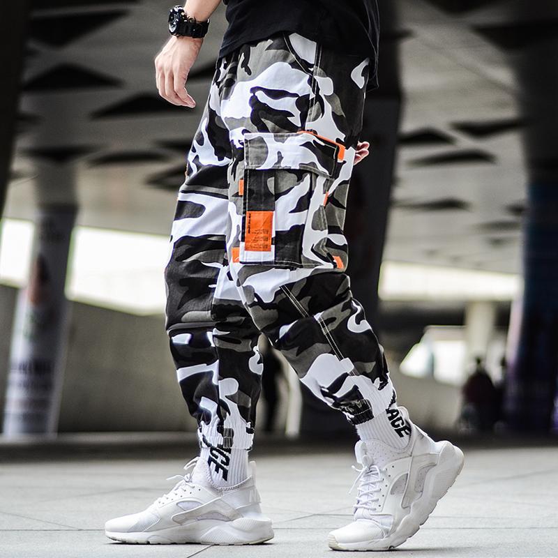 Kargo Kamuflaj Pantolon Hip Hop Siyah Pantolon Erkek Kargo Harem Pant Streetwear Harajuku Jogger Sweatpant Pamuk Pantolon