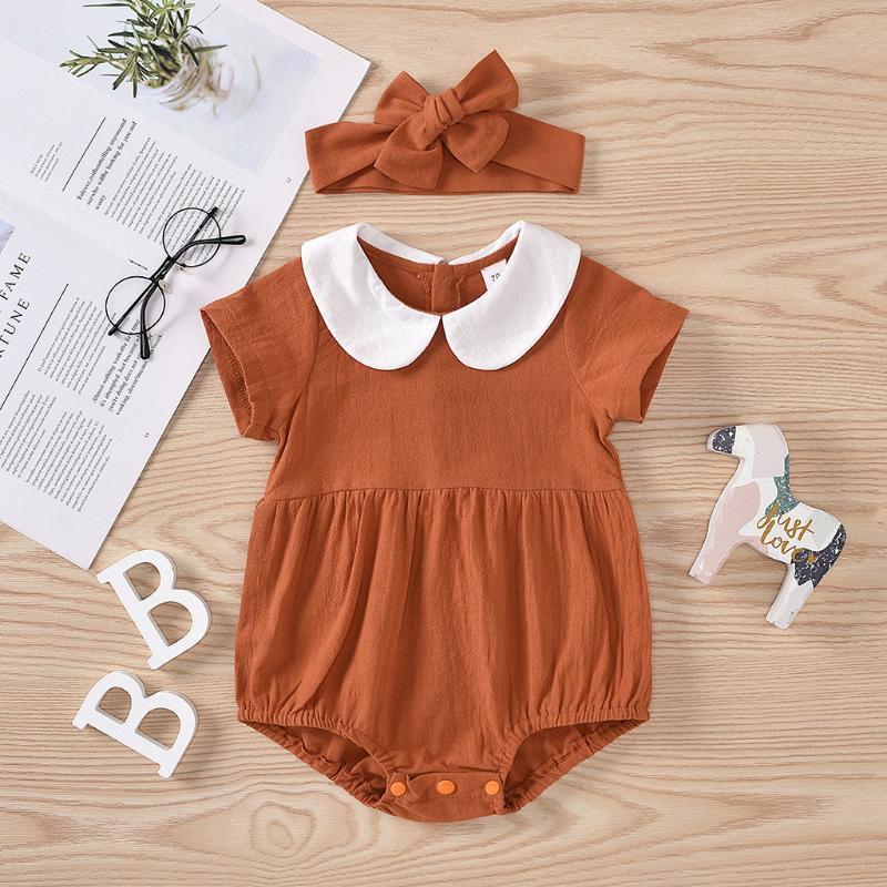 2pcs du nouveau-né bébé Vêtements de bébé fille Outfit Set Peter Pan App.:H-parl ruché Romper Jumpsuit hairband Vêtements Outfit été Sunsuit
