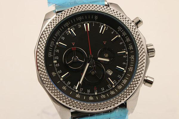 Cronógrafo de lujo Relojes de los hombres de calidad superior Cinturón de plata de acero inoxidable Esqueleto de plata para reloj Dial negro