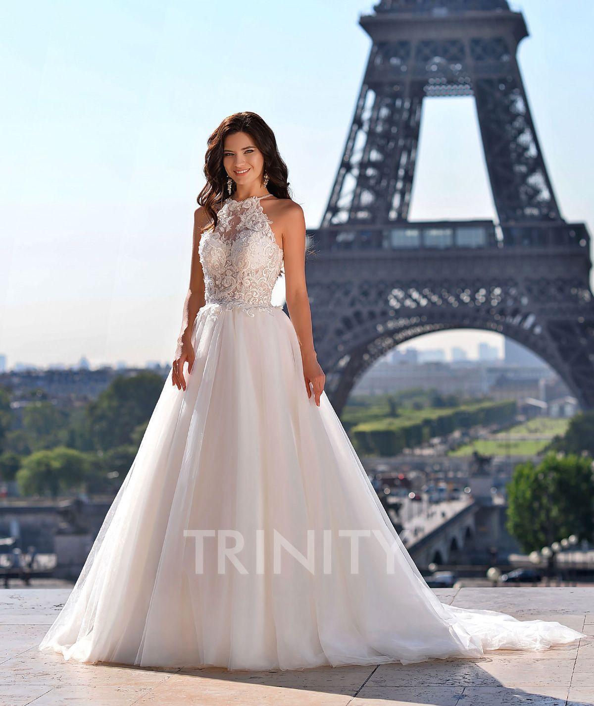 Beauty Ivory Tulle Halter Applique Beads A-Line Wedding Dresses Bridal Pageant Dresses Wedding Attire Dresses Custom Size 2-18 KF1228317