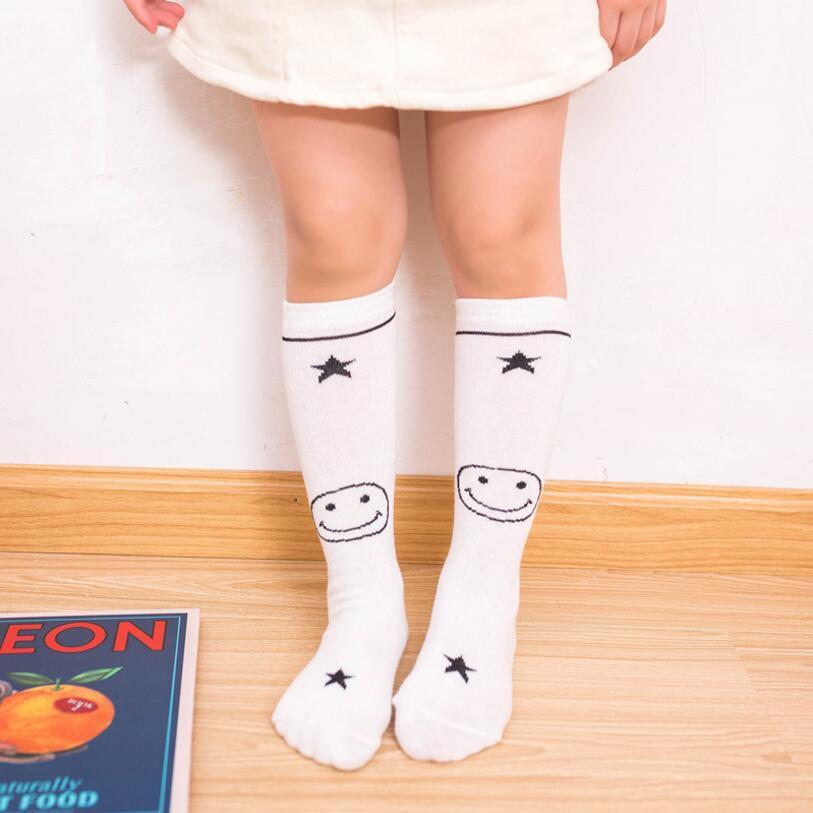 Primavera Outono criança meias 100% algodão tarja altura do joelho meias faculdade do arco-íris vento joelho Tempo quente Kids Socks 0-7 Ano