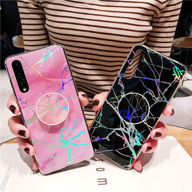 iPhone 12 Mini 11 Pro Xs Max Samsung Galaxy S10 S20 Artı Not için Holo Kapak Telefon Tutucu Standı Mermer Vaka 20 Ultra