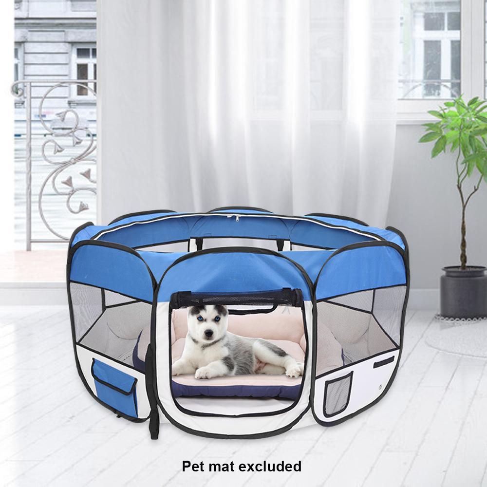 """45"""" Portable Foldable 600D Oxford Cloth & Mesh Pet Playpen Fence with Eight Panels Blue Free Shipping"""