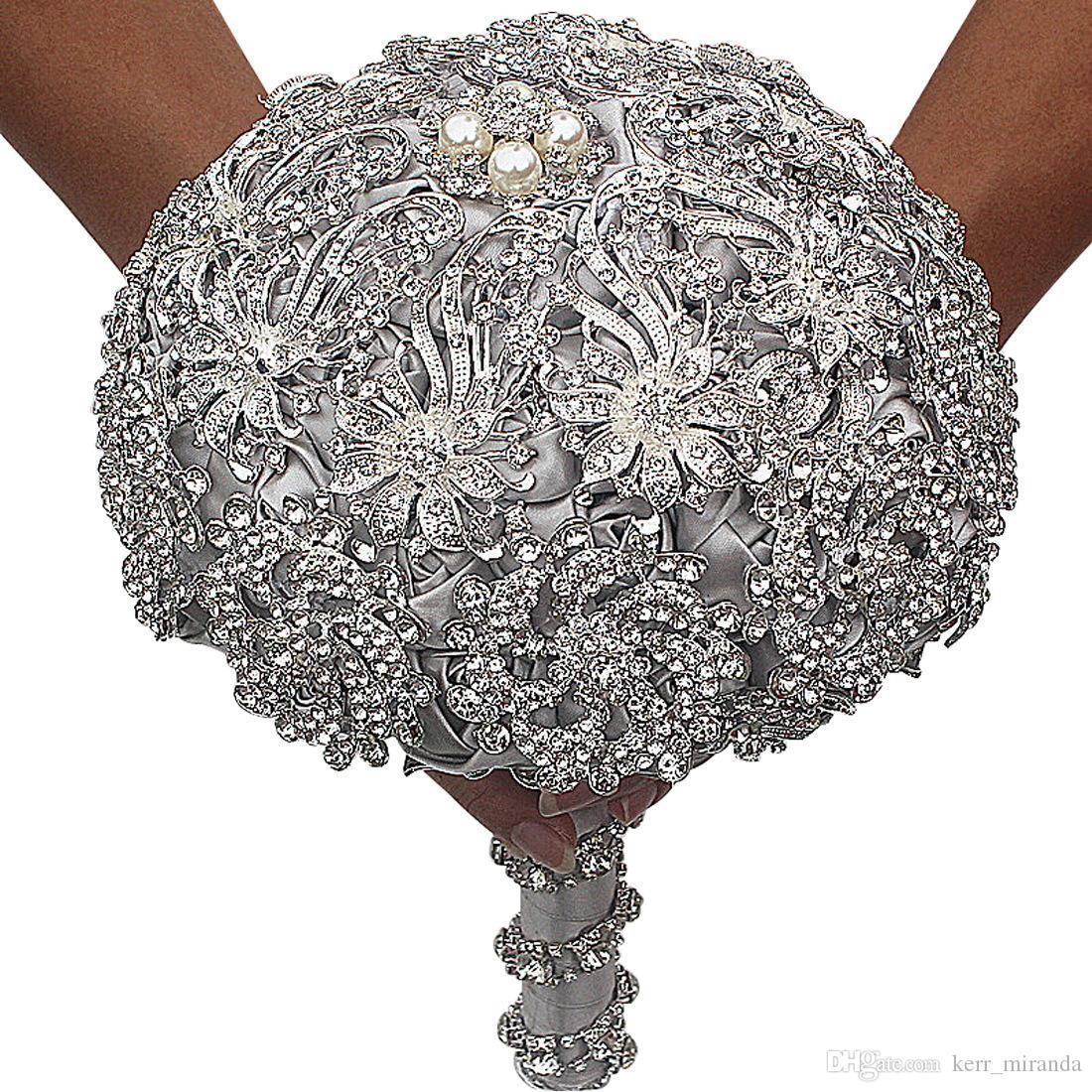 2019 luxuriöse kristall brosche blumenstrauß elfenbeingrau grauer kristall perlen blumenstrauß satin hochzeit blumen braut blumen strukturen hochzeitszubehör