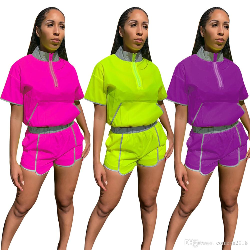 Women s Two Piece Shorts Set 2 Piece Outfits Reflective Light Sports Outdoor Tracksuit Short Sleeve Summer Outfits Tops Jogger Clothing Set