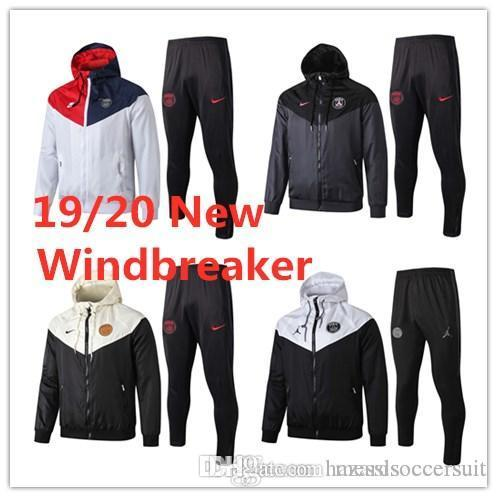Free shipping 2019 20 Paris jacket Windbreaker MBAPPE long sleeve hooded tracksuit 19 20 PSG CAVANI VERRATTI soccer waterproof coat