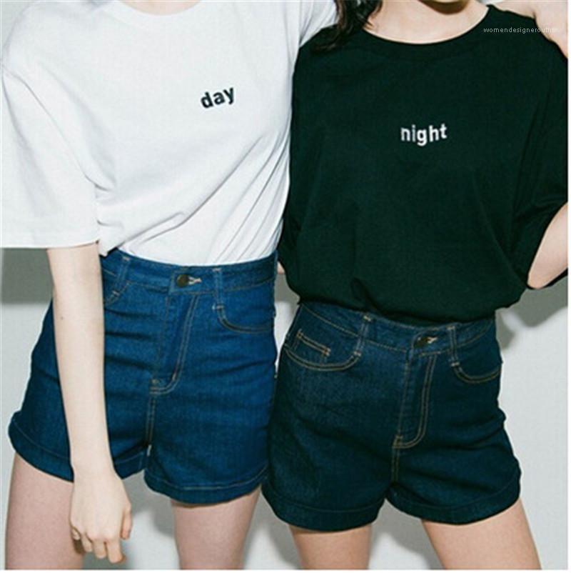 O Neck Ladies Tops Moda soltos Casais T do dia da noite Impresso Womens T-shirts Summer manga curta