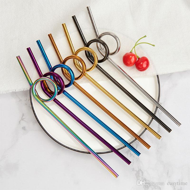 Creative New Reusable Bend Metal Drinking Straw High Quality 304 Stainless Steel Straw Wholesale Bar Party Accessory
