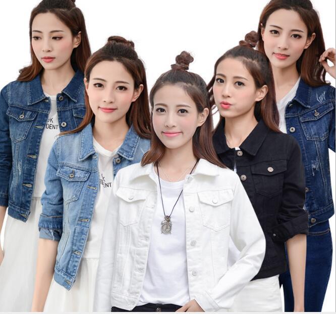 donne della molla rivestimento del denim del manicotto lungo sottile coreano denim delle parti superiori del cappotto del rivestimento della tuta sportiva