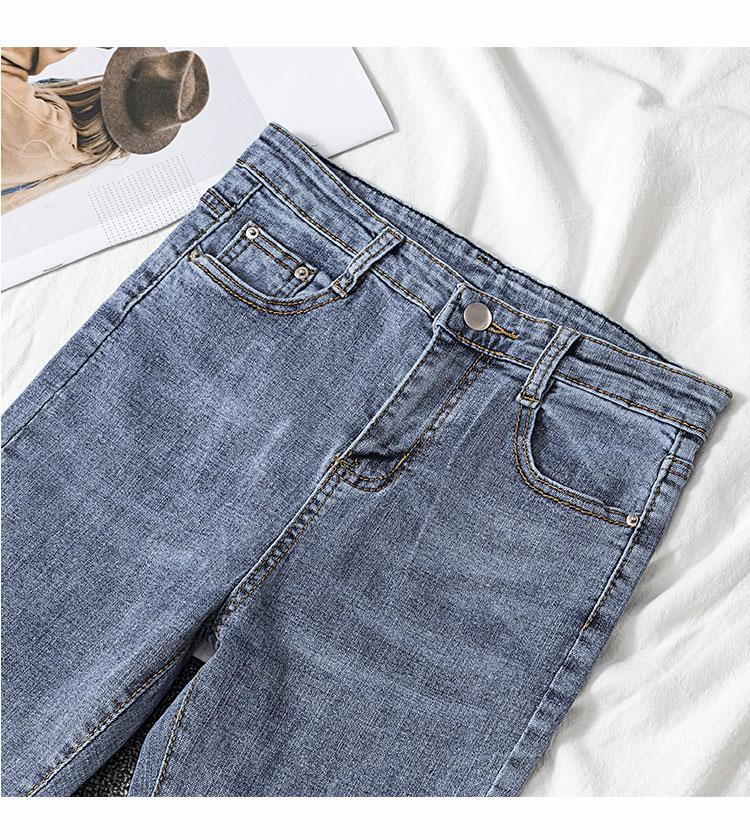 Calças JinYiLai Jeans trombeta Nove P elástico flash molhadas