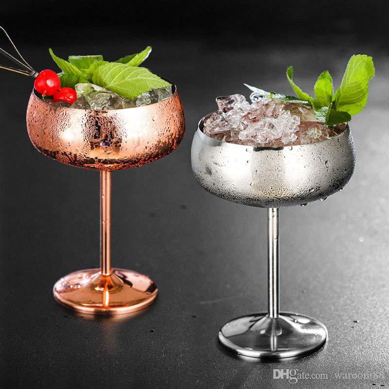304 스테인레스 스틸 칵테일 유리 럭셔리 실버 로즈 칵테일 주스는 샴페인 잔 파티 기물 주방 음주 도구 450ml 음료