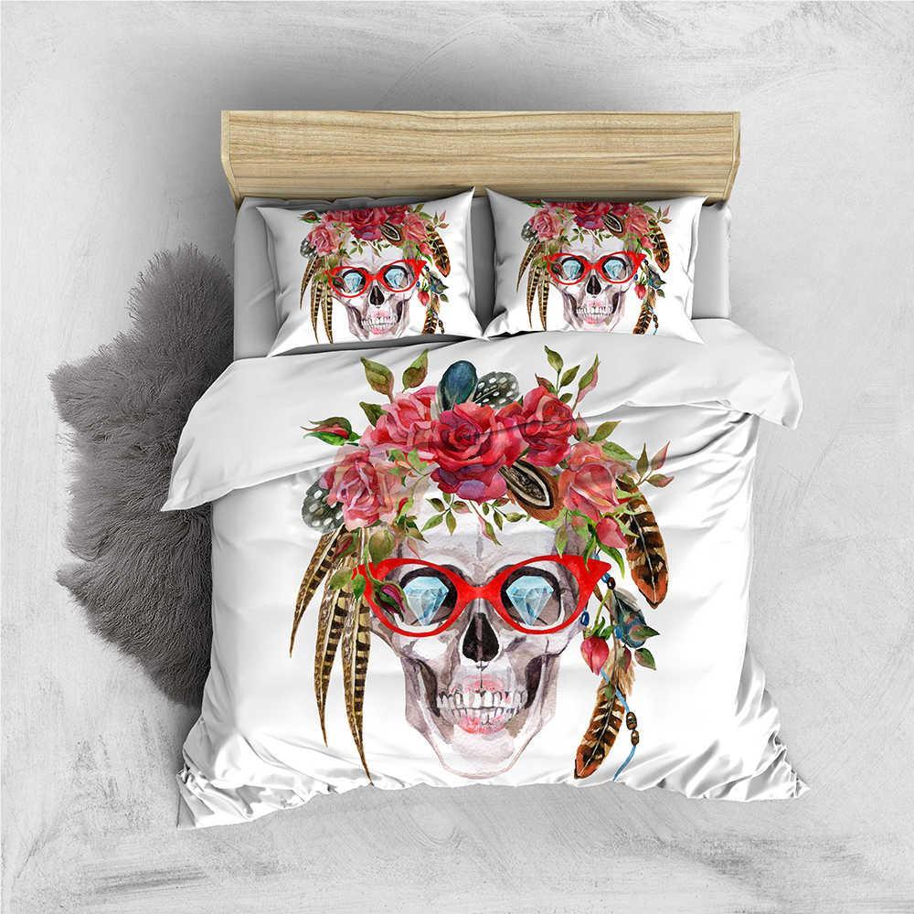 해골 침구 세트 선글라스는 패션 이불 커버 꽃 여왕 왕 더블 싱글 트윈 전체 베개와 커버 침대 쿨