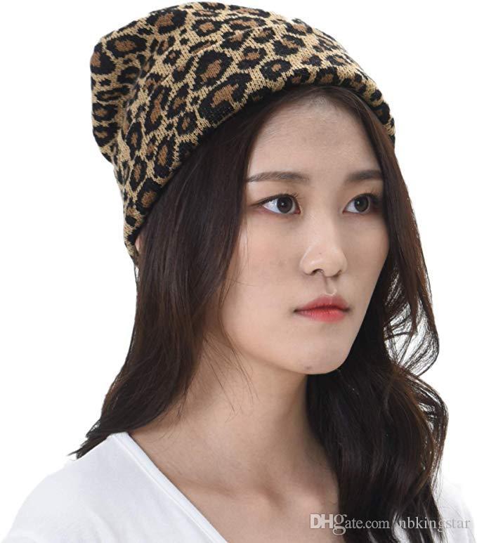 Donne Cappelli invernali 2018 Moda Pelle di leopardo maglia Berretti di lana Hemming Cappello autunno Tenere protezione calda femminile