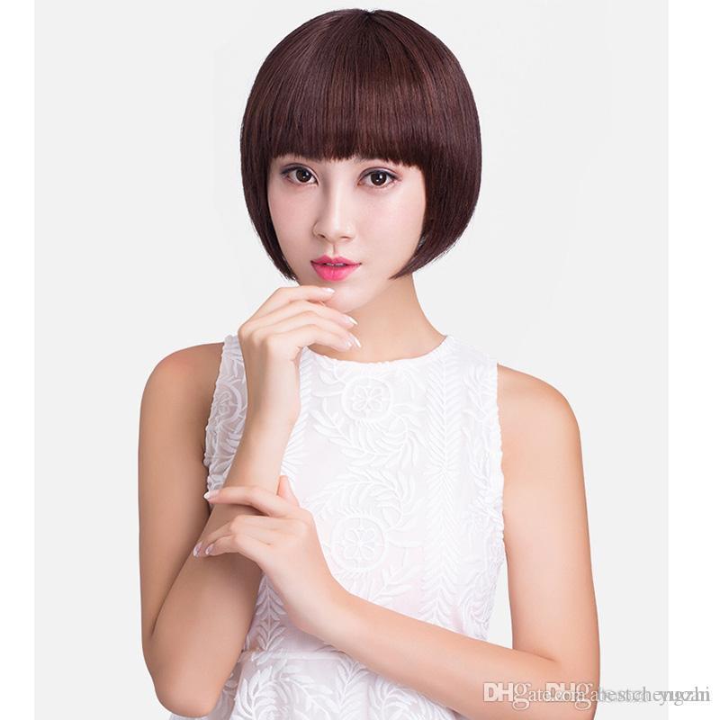 Court BoBo perruque brésilienne Remy perruques de cheveux humains chinois Bangs pour les femmes noires Brun foncé Noir naturel machine pleine perruque Livraison gratuite