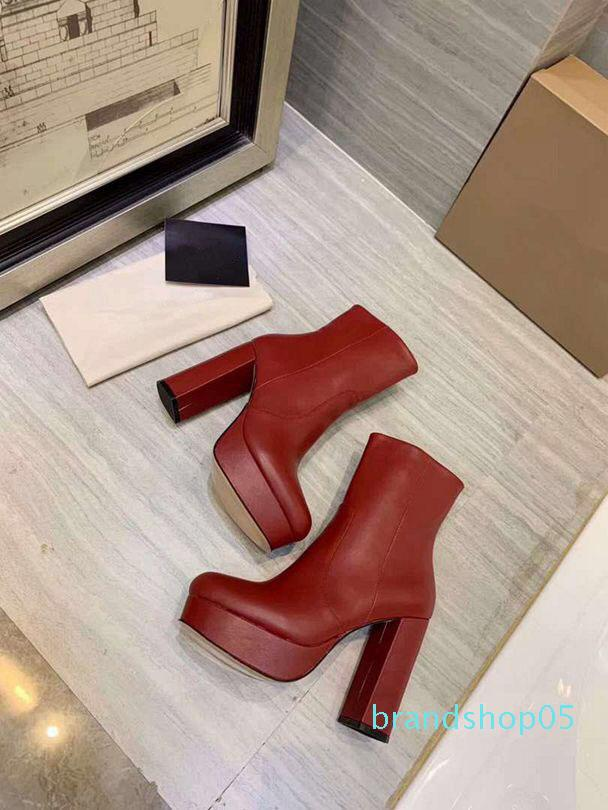 Heißer Verkauf- reizvolle klassische echtes Leder quadratische hohe Absätze kurze Stiefel Mode-Marken-Entwerfer Sexy Stiefeletten Chaussure Homme Größe 34-41