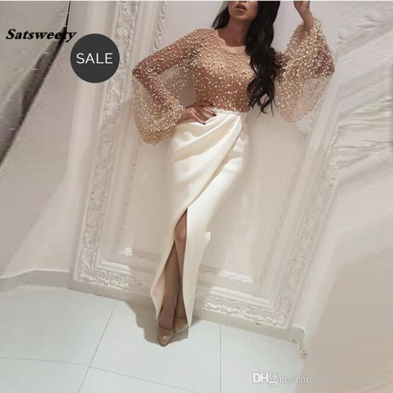 Abiye Pearls Mermaid Evening Dresses Illusion Tutu Full Flare Sleeves Sexy Long Evening Gowns High Collar Split Formal Dress