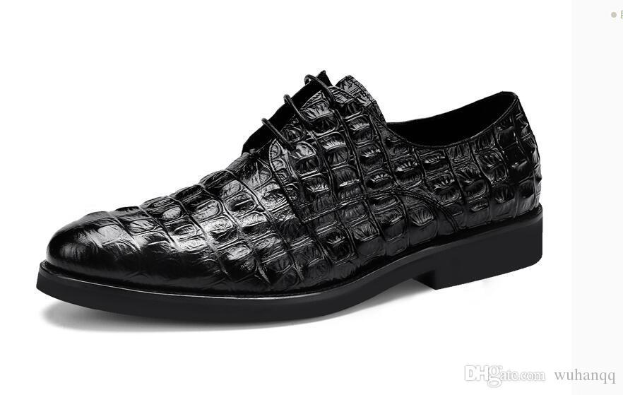 Padrão de Couro Genuíno Dos Homens Sapatos Oxford Apontou Toe Men Dress Shoes Tamanho Grande Lace Up Sapatos Formais