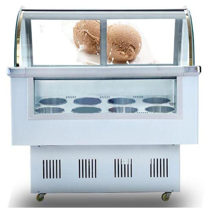 Acero inoxidable Comercial Helados Vitrina helado de visualización Congeladores 8 barriles redondos o cuadrados 12 barriles congelador