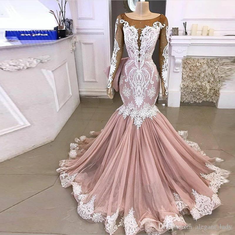 Vintage blush cor-de-rosa sereia vestidos de casamento manga comprida pura pescoço laço applique varrer vestido de noiva vestido de noiva vestido de noiva