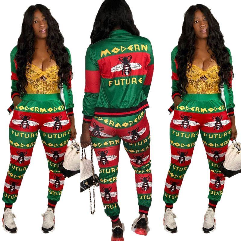 Mulheres abelha imprimir Outfits set peça jaqueta de dois zipper Treino leggings casaco de manga longa roupas cor contast inverno de jogging terno queda 2231