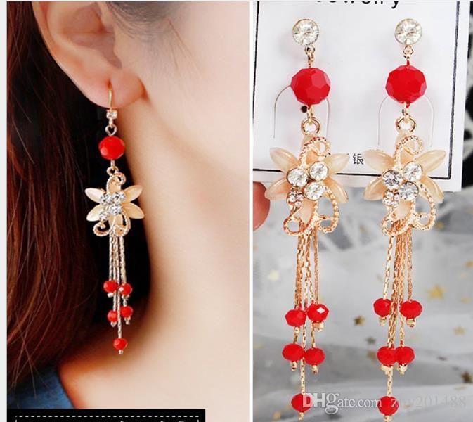 Boucles d'oreilles de cristal rouge dames bijoux mariée strass longues boucles d'oreilles gland