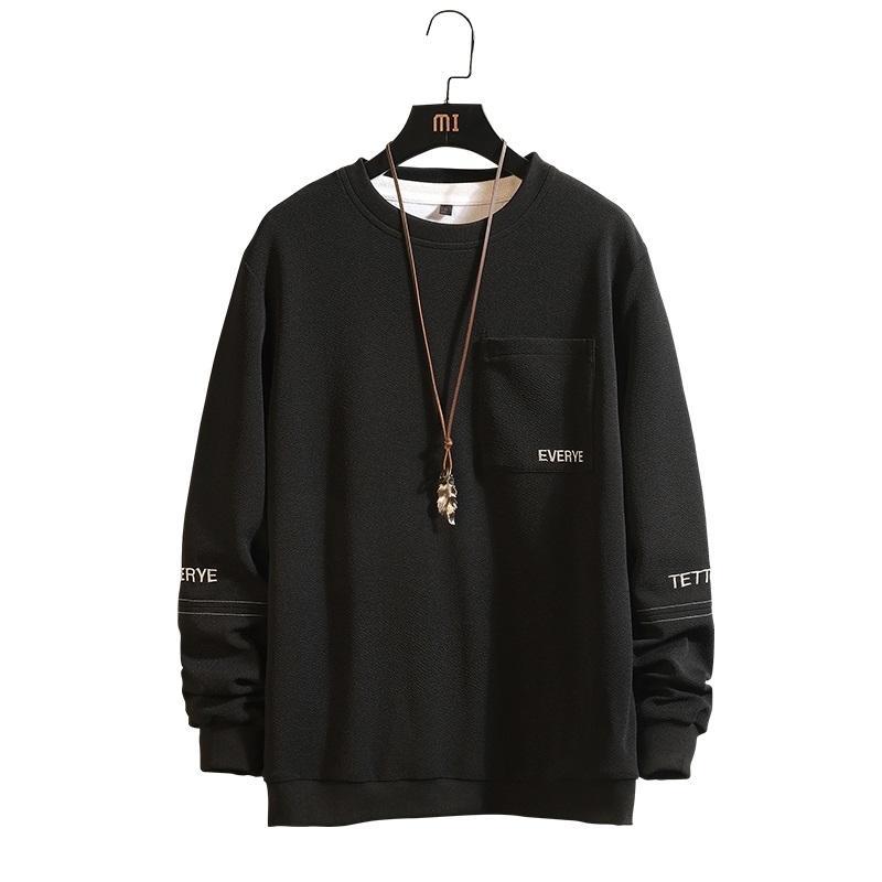 Мужчины Письмо Черный Хаки SweaterShirt Длинные рукава толстовки Hip Hop Повседневный колющие пуловеры Streetwear Размер M-4XL; YA115 DT191030