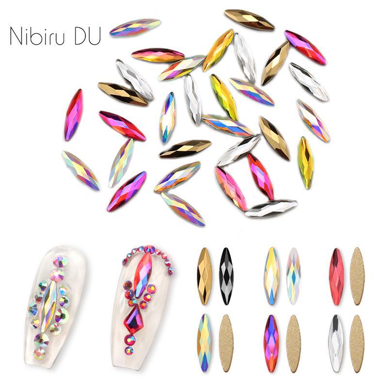 20 pcs Cristais Nail Art Rhinestones do olho do cavalo 3 * 11 milímetros Navette Pedras DIY design colorido Glitter Pedras Para 3D Nails Art Decorat