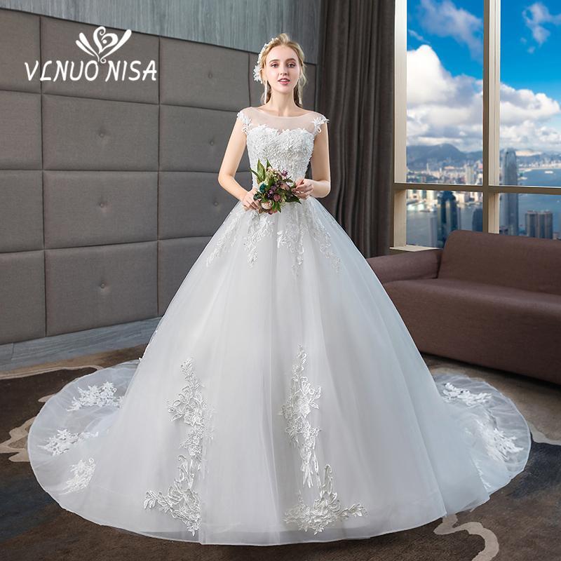vendita all'ingrosso corte treno abito da sposa delicato ricamo pizzo perla fiore senza maniche abito da sposa plus size abiti da noiva 20
