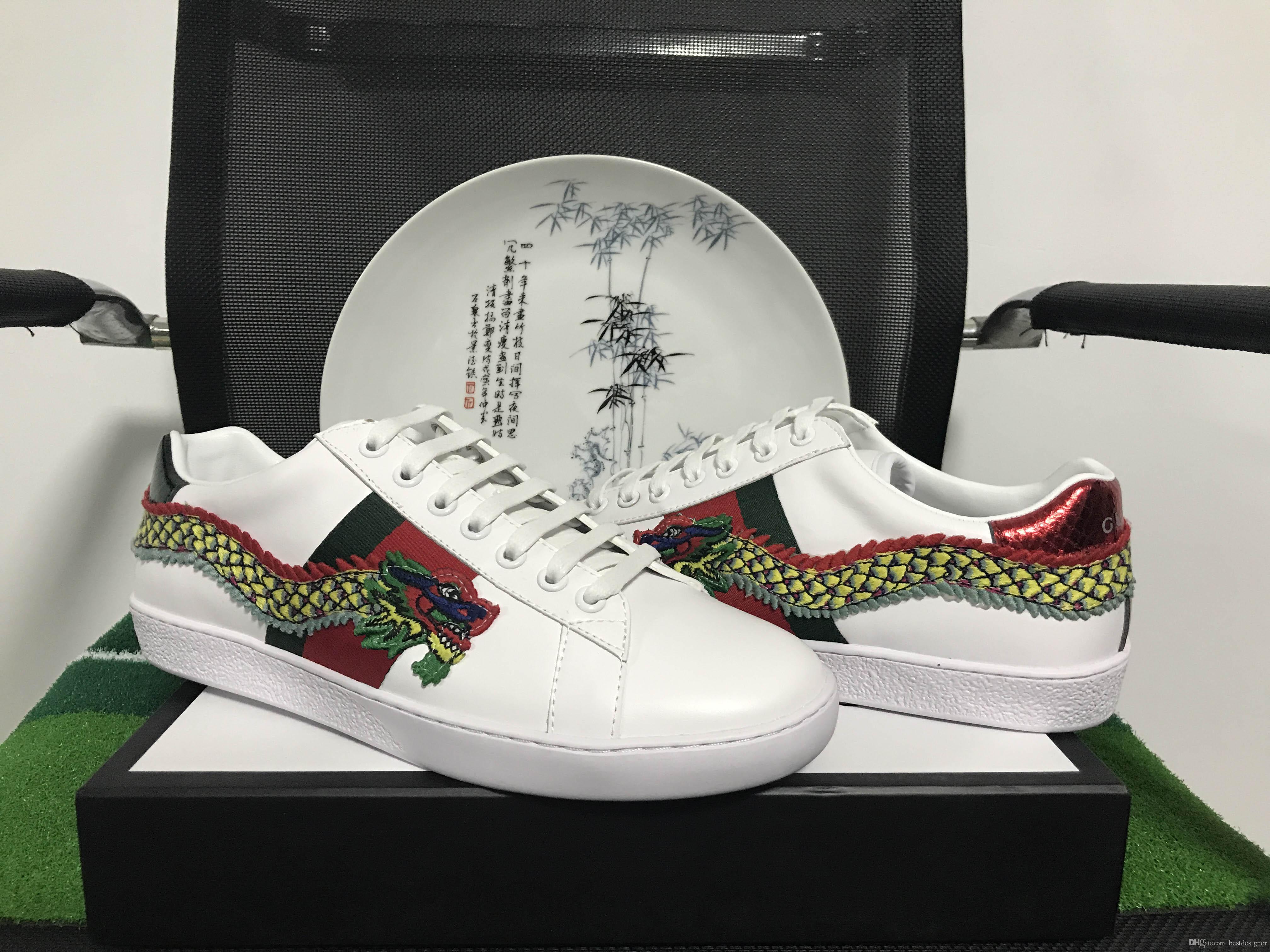 Nouveau mode luxe vert rayures rouges original designer ACE broderie Dragon confortable respirant hommes et femmes chaussures de sport