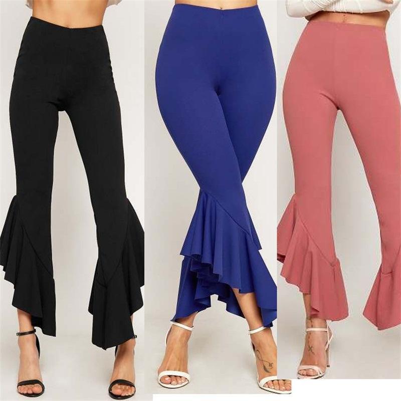 Herbst und Winter der Frauen dünne Hosen Unregelmäßige Raff Fest Farbe Sknny Hosen Damen-lange Hose Von Modebekleidung Bekleidung 24cz E1