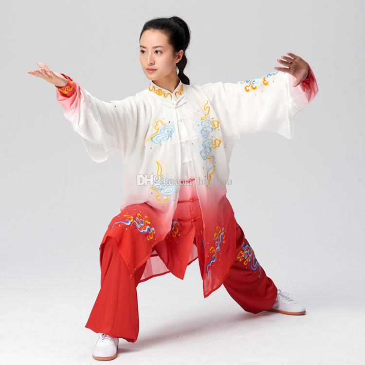 NEW Chinese Tai chi clothes Kungfu uniform Taijiquan garment outfit Clouds Embroidery kimono for women men girl boy children adults kids