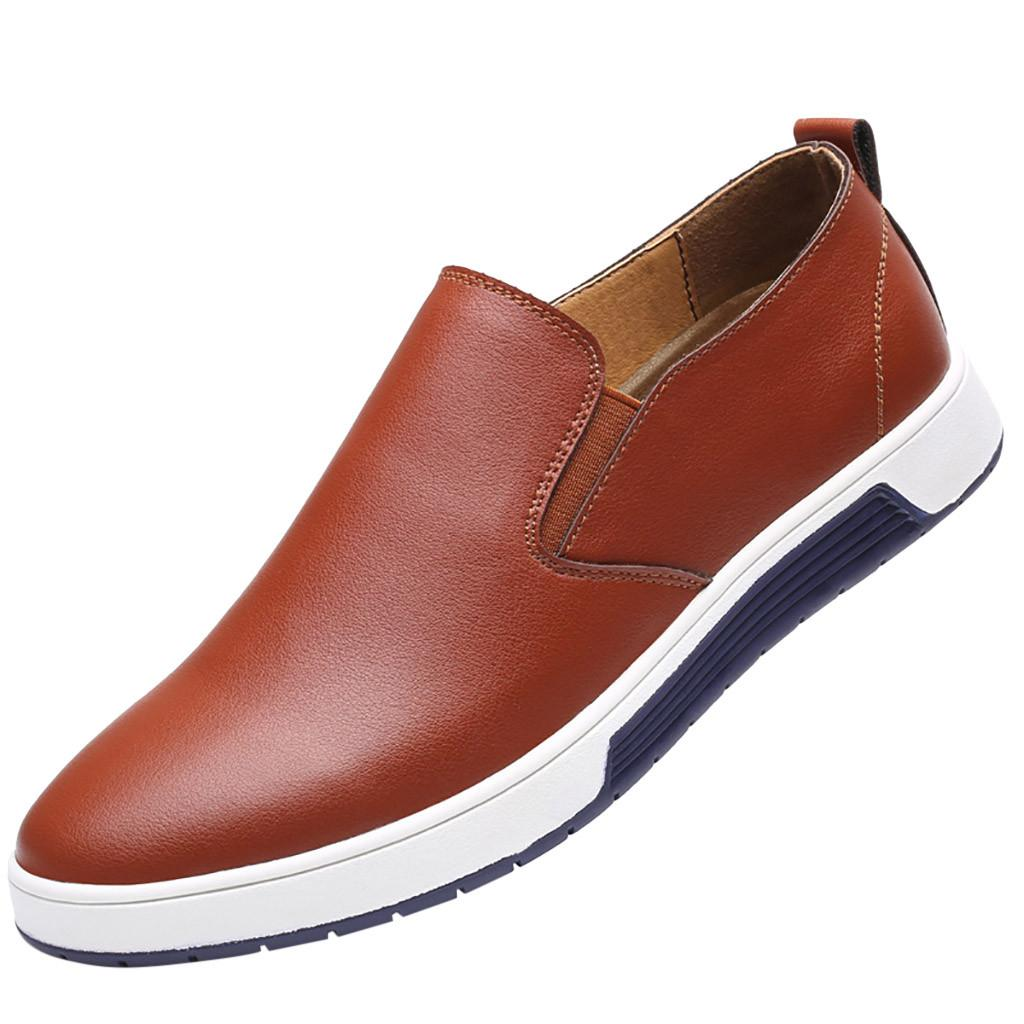 SAGACE мужские Деловое платье из кожи Обувь для мужчин Повседневная обувь 2019 Mens дышащая скольжения на Casual Male Plus Size 37-47 Jly17 новый