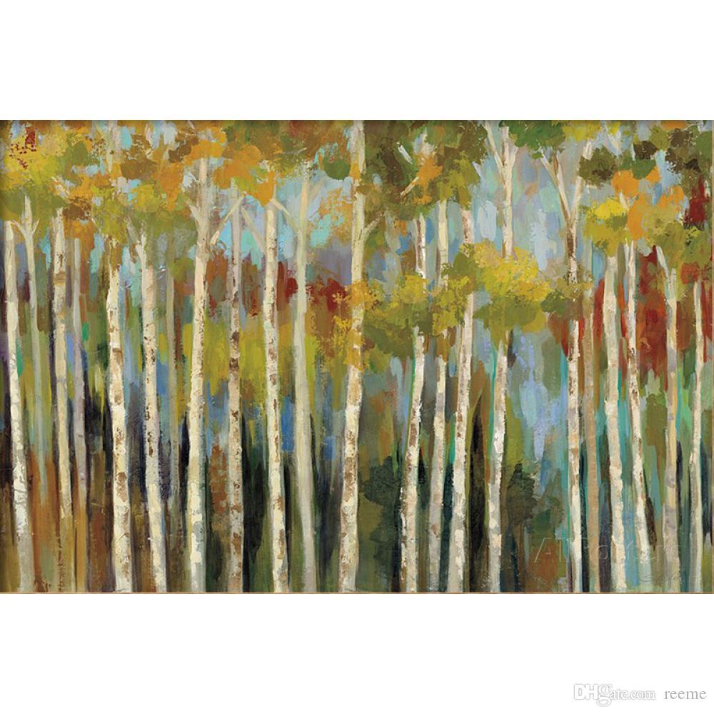 Dipinti ad olio su tela di Silvia Vassileva Young Forest III per decorazione murale dipinta a mano