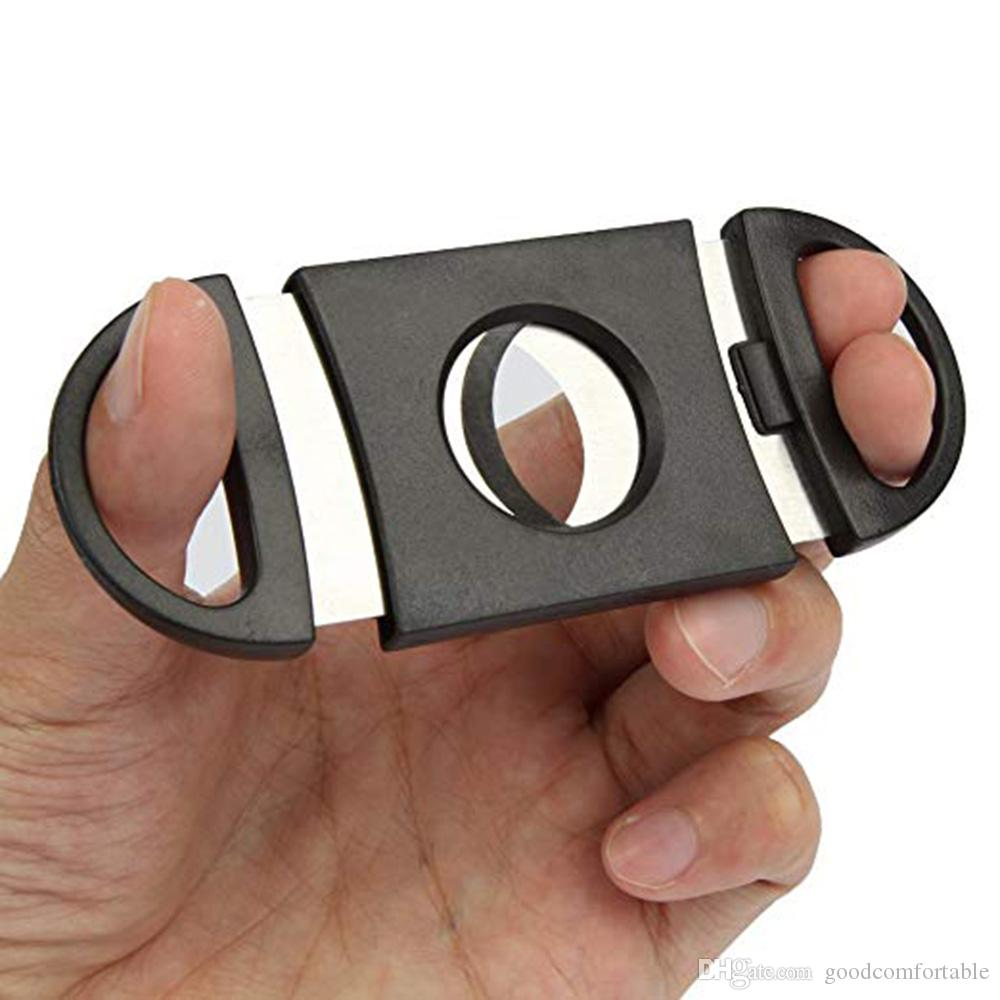 Pocket Plastic Stainless Steel Double Blades Cigar Cutter Knife Scissors Tobacco Black New Free Shipping