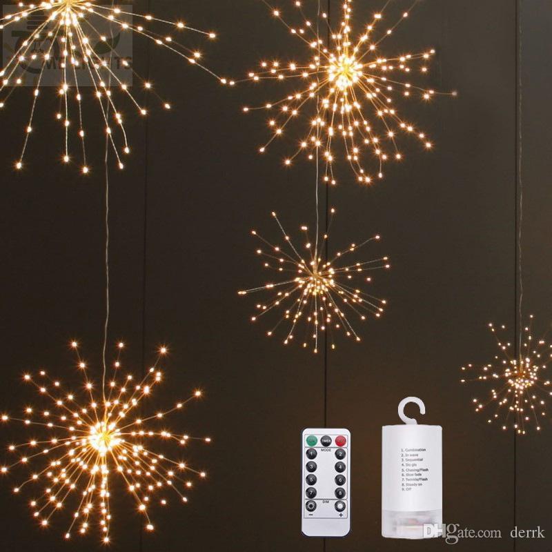تعمل أضواء عيد الميلاد DIY طوي باقة الشكل LED أضواء سلسلة الألعاب النارية البطارية الديكور 100 بقيادة أضواء الجنية جارلاند الباحة