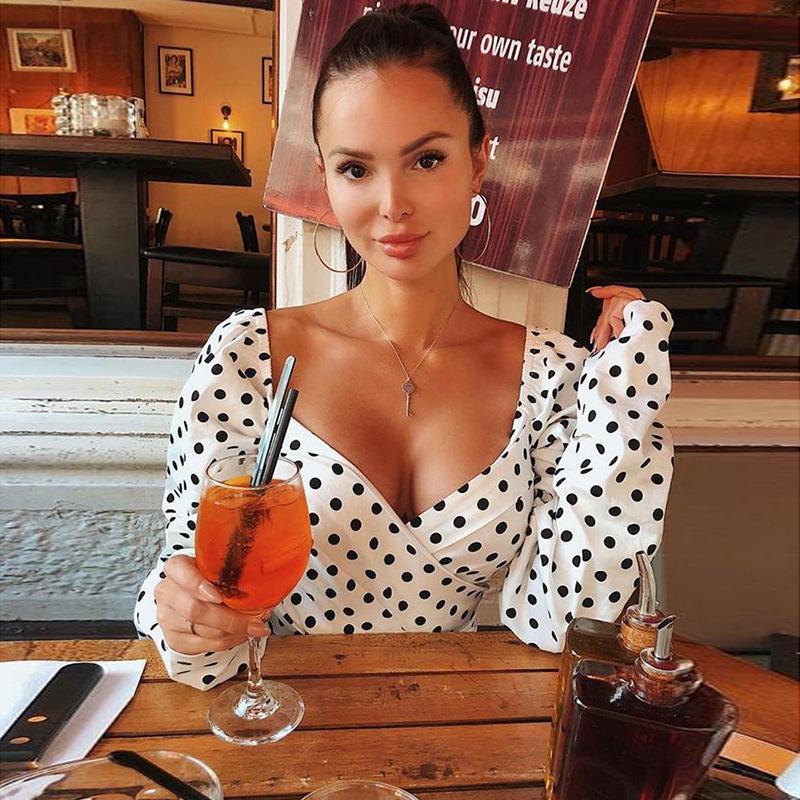 HIRIGIN En Yeni Kadınlar Uzun Kollu Polka Dot Gömlek Sexy Lady V-Boyun Crop Top Kısa Bluz Gömlek Clubwear