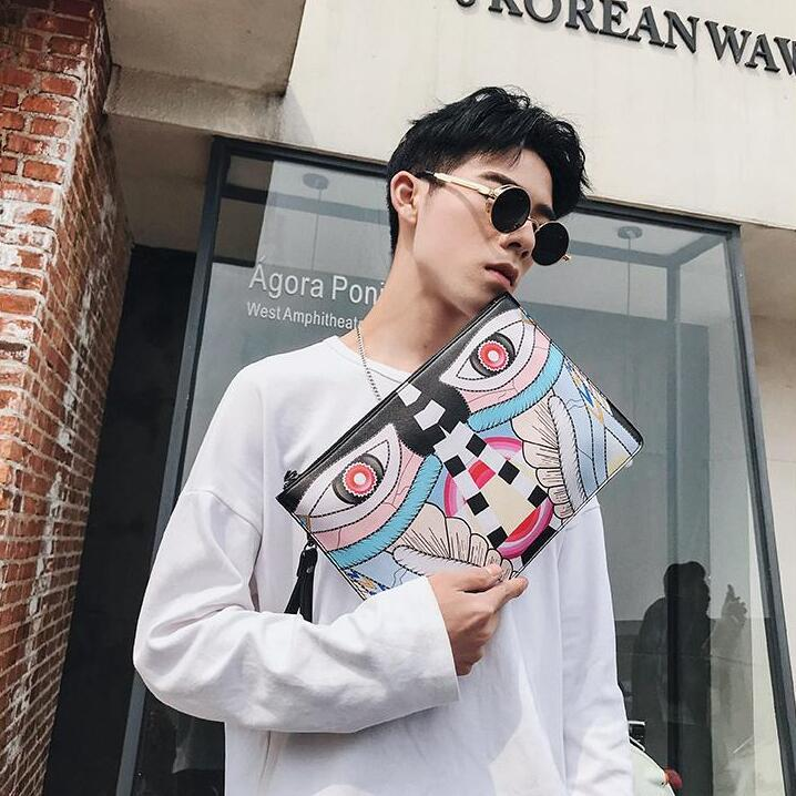 Original double-sided printed design leather men bags personality totem prints men handbags fashionable soft leather shoulder bags men handb
