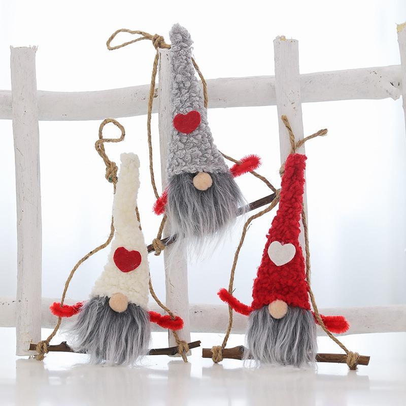 Peluş Gnome Bebek Merry Christmas Kolye Damla Süsler Noel Ağacı Tatil Süslemeleri Yenilik Ev Dekorasyonu