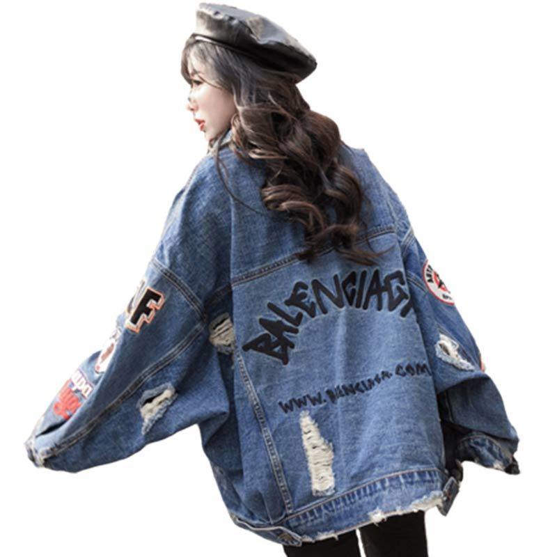 2019 BF Harajuk suelta Denim Chaqueta Mujeres vaquero Carta agujero individual bordado Streetwear de gran tamaño de Corea del estilo de Hip Hop T200116