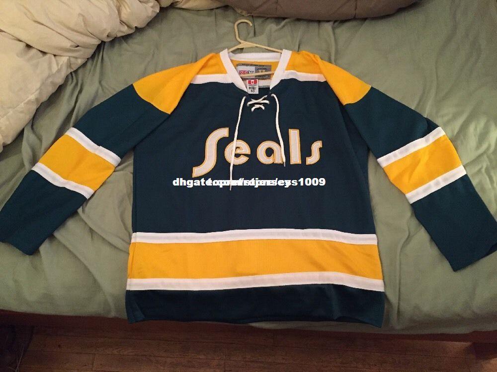Coutume pas cher Vintage 1974 Californie Golden Seals De Jersey De Jersey De Point De Personnage Tout Numéro Nom XS-6XL
