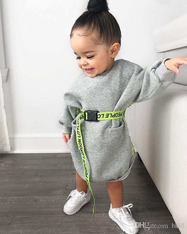 Crianças vestidos da criança Criança roupa menina manga comprida roupa cinzenta capuz Vestidos 2019 Outono Primavera bonito Patchwork vestido camisola