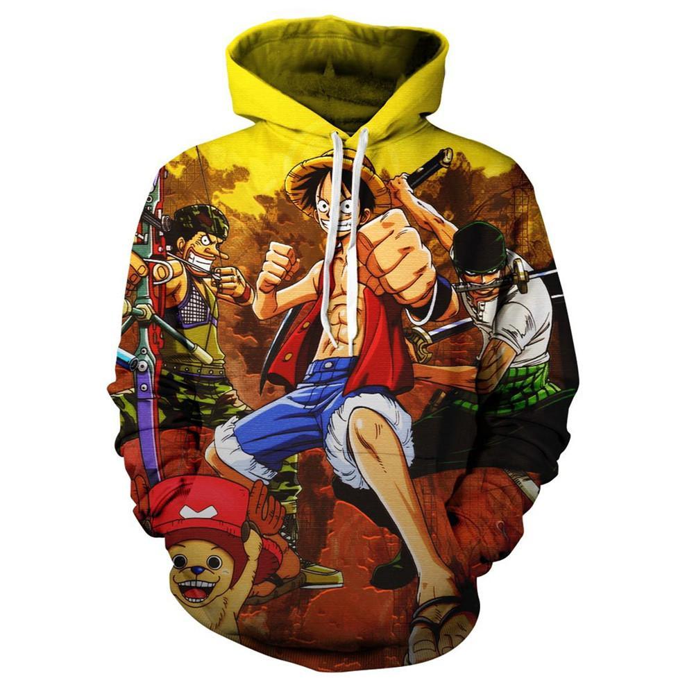 Anime Hoodie Casual Cosplay Mens Hoodies Hip Hop Harajuku Long Sleeve Sweatshirt One Piece Print Family Pullover Tops 2019 Hody
