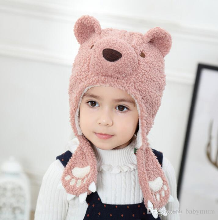 Invierno cálido berber paño grueso y suave bebé orejeras gorrita tejida moda lindo oso gruesa gorra tapa suave infantil grils sombreros