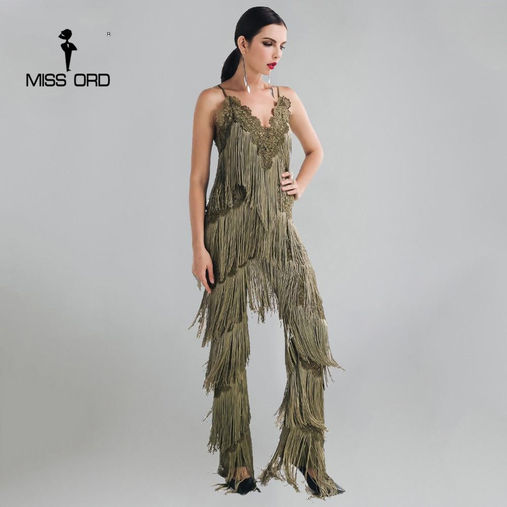 Missord 2019 Sexy Sleeveless V-neck Halter Lace Tassel Jumpsuit Ft4661-2 Y19060501