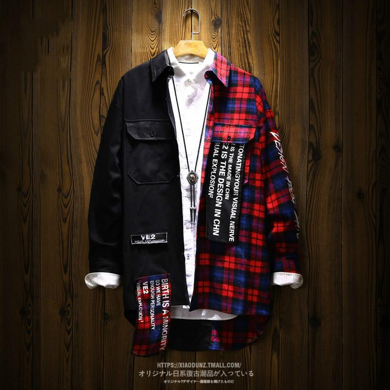 Shirts Men Ins Hip Hop Patchwork Plaid camisa de manga comprida masculina Casaco longo macho frouxo japonês Bf Dropshipping 2018 Plaid 50cs002