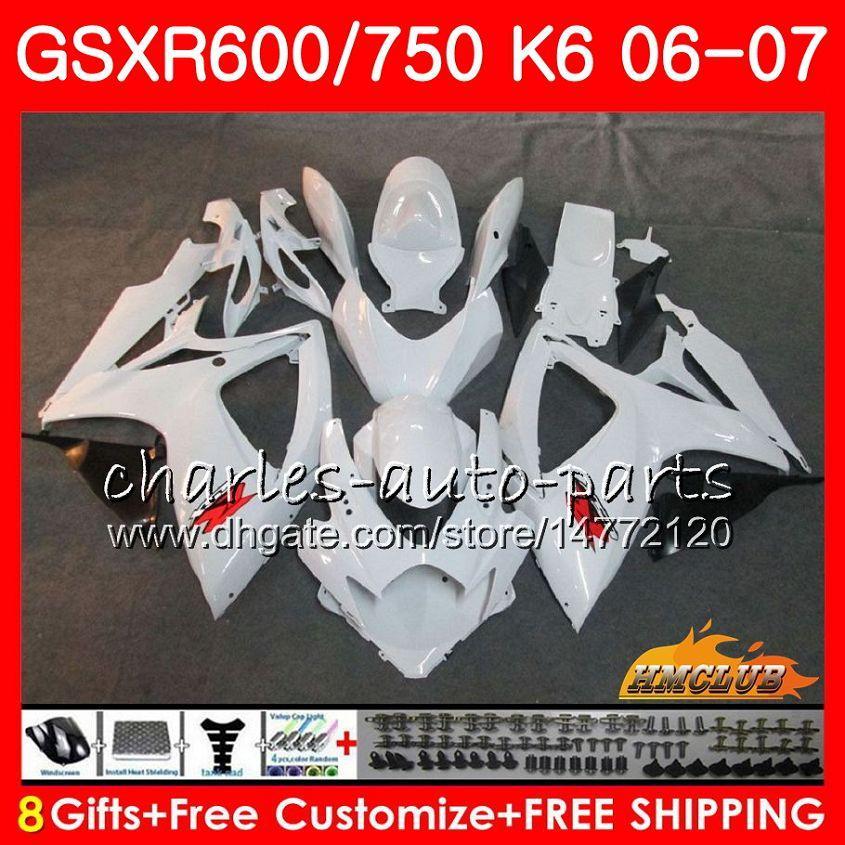 Corpo para Suzuki GSX R600 Glossy Branco GSX R750 GSXR600 2006 2007 8HC.16 GSX-R600 GSXR-750 K6 GSXR 600 750 06-07 GSXR750 06 07 Kit de justo