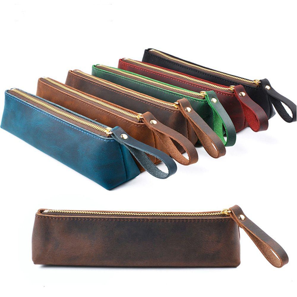 Genuine Leather Zipper Pen Case Pencil Bag Large Capacity Vintage Crazy Horse Leather Handmade Creative School Stationary
