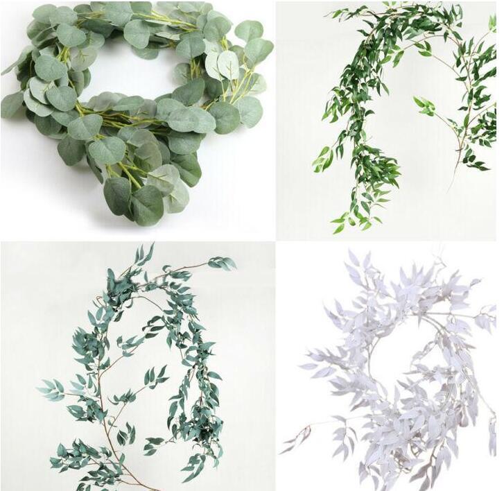 همية مصطنعة شجرة الكينا جارلاند لونغ ليف النباتات الخضار الخضرة الصفصاف أوراق النبات الخضراء ديكور المنزل الحرير زهرة GD203