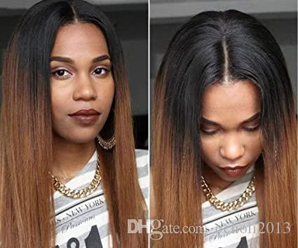 Kadınlar Remy Brezilyalı için 13x4 Düz Bal Sarışın Ombre Rengi Vurgu% 150 Dantel Ön İnsan Saç Peruk Görünmez Öncesi Mızraplı