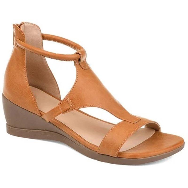New Mulheres Verão Sandals saltos meados Cunhas Sapatos Ladies PU Vintage Leather Plus Size Sandalias Mujer Sapato Feminino Size35-42